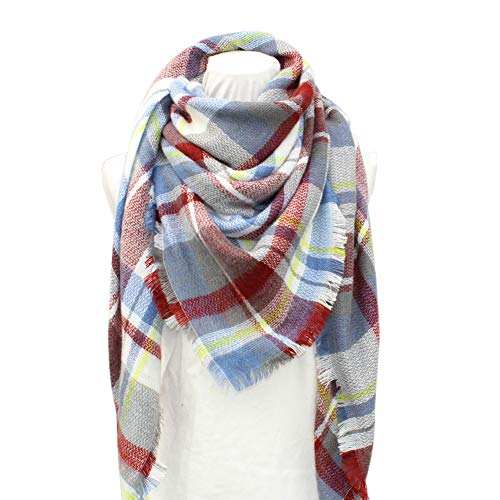 Dora Bridal Lady Women Blanket Oversized Tartan Scarf Wrap Shawl Plaid Cozy Checked Pashmina (One Size, Burgundy and Grey) ()