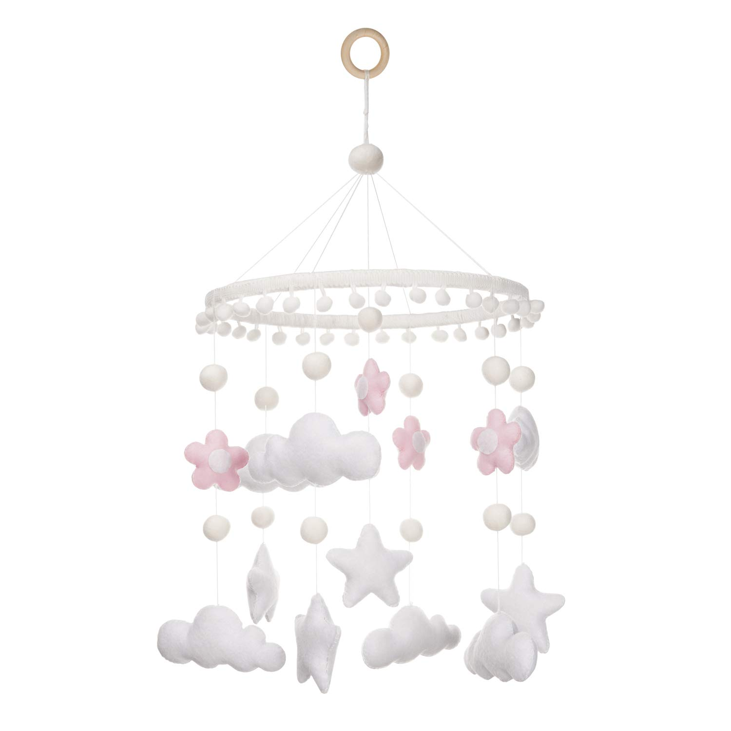 Baby Mobile for Crib Girl - Clouds, Stars and Flowers for Nursery Decor Custom Made Baby Shower for Kids Gift