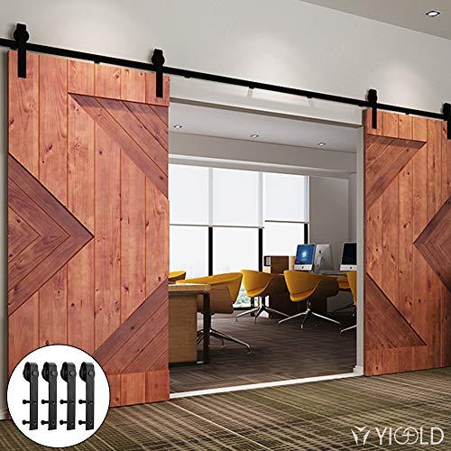 13FT Sliding Door Hardware Kit for Barn Doors Carbon Steel- Ultra Smoothly and Quietly Design-Easy Installation-Fit Double Wide Door Panel-(J Shape Hanger,Double Door;Black)