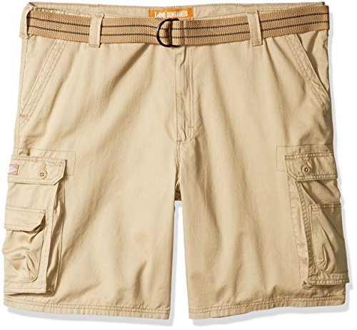 LEE Men's Big and Tall New Belted Wyoming Cargo Short, Buff, 46W (Pocket Khaki Phone Shorts Cell)