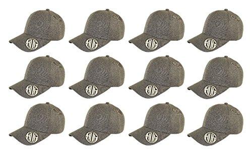 ( Pack of 12 ) Classic Premium Baseball Cap Adjustable Velcro Plain Hat Profile For Unisex Men Women ( Structured ) (DARK -