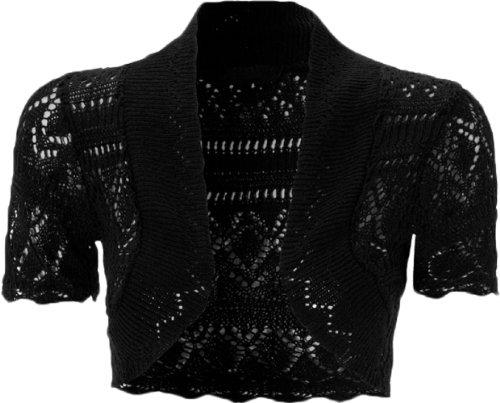 Las mujeres gorra Crochet de Punto Encogimiento De Hombros Bolero corto para mujer funda blanda de UK tamaño 8–�?6 negro