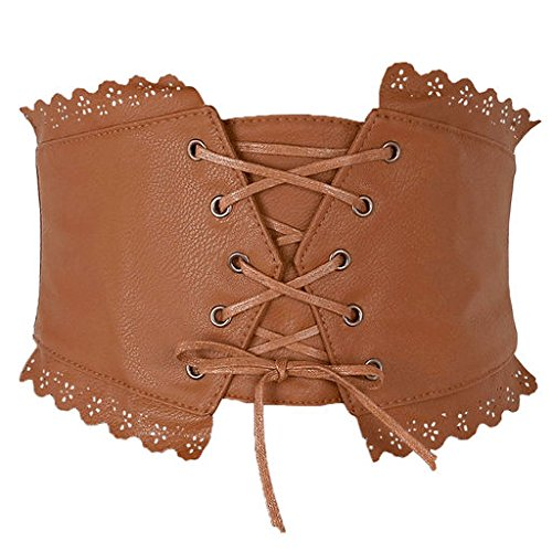 Ayliss Womens Elastic Wide Band Lace-Up Corset Cinch Belt with Press Button, Fit waist 24.8''-32.7'', Brown