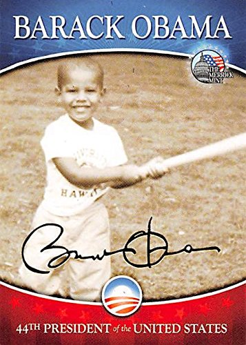 Barack Obama trading card (44th President of the United States, Childhood playing Baseball) Merrick Mint #4 Autograph Warehouse