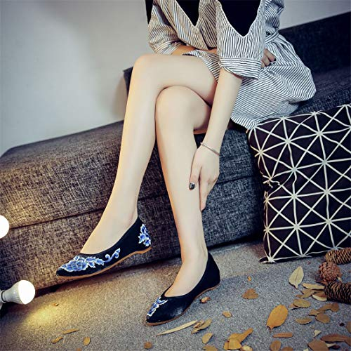 National Espadrilles Shoes Embroidery Wind Shoes Shoes Ballet Retro Flats Black Embroidered Heel Crude Women 0ax5Sqw