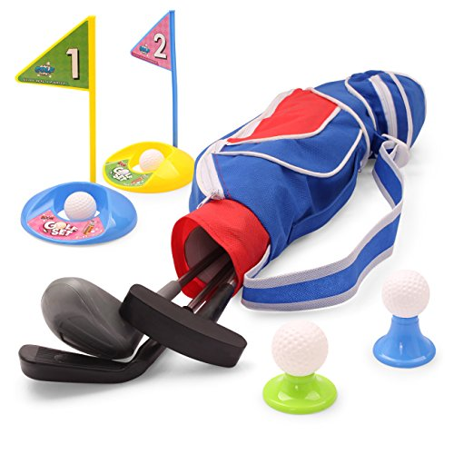 EXERCISE N PLAY Deluxe Happy Kids/Toddler Golf Clubs Set Grow-to-Pro Golfer 15 Piece Set (Blue) ()