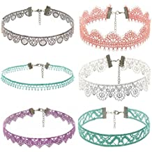 ZOMUSA Hot Sale! 6 Pieces Tattoo Choker Necklace Set,Stretch Elastic Gothic Tattoo Henna Choker Necklace
