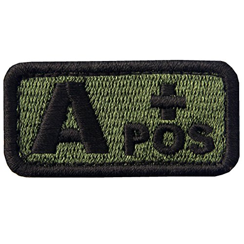 (EmbTao Type A Positive Tactical Blood Type Fastener Hook&Loop Patch - Green & Black - 2