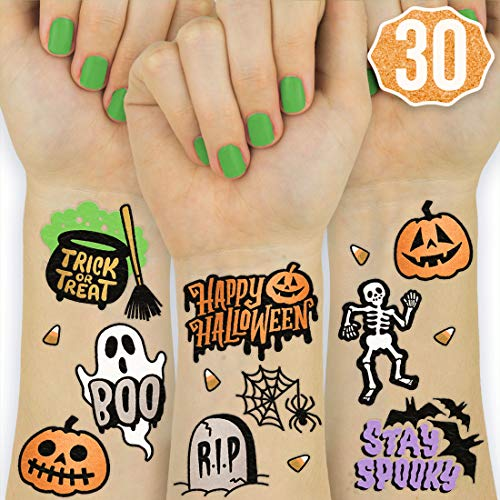 xo, Fetti Halloween Tattoos for Kids - 30 Styles | Happy Halloween Decorations, Skeletons, Ghosts, Pumpkins, Spiderwebs + More ()