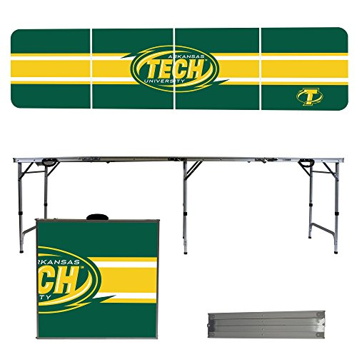 Arkansas Tech Wonder Boys & Golden Suns 8 Foot Portable Folding Tailgate Table Stripe (Tech Tailgate Pong Table)