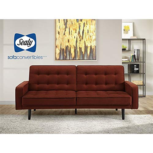 (Sealy Trieste Mid-Century Split-Back Convertible Sofa in Red)