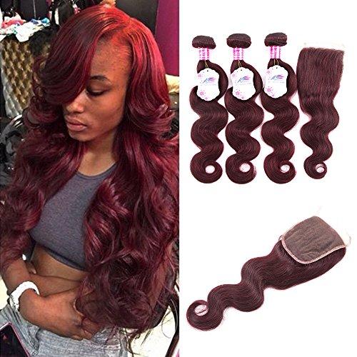 Anruina Brazilian Virgin Hair 3 Bundles Body Wave With Lace Closure 99j Hair Bundles With Closure Brazilian Hair Bundles With Closure 4x4 Free Part 12 14 16 with 10