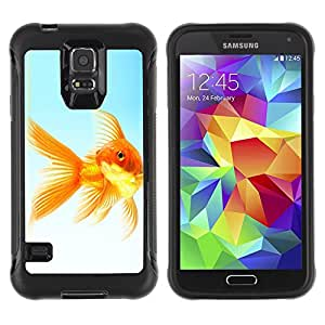 ZETECH CASES / Samsung Galaxy S5 SM-G900 / THE GOLDFISH / El Goldfish / Robusto Caso Carcaso Billetera Shell Armor Funda Case Cover Slim Armor