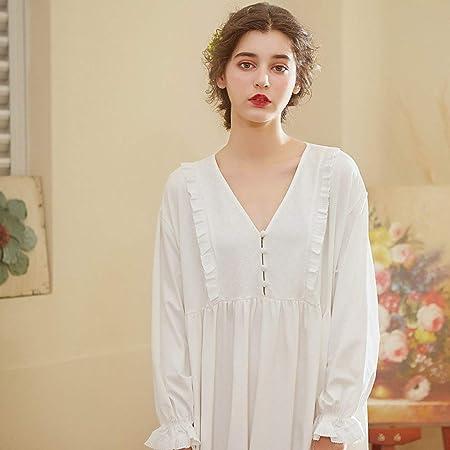 YPDM Bata,Camisón de algodón para Mujer 2019 Ropa de Dormir de otoño Vestido Blanco Ropa de casa cómoda Camisones Mujer, Blanco, M: Amazon.es: Hogar