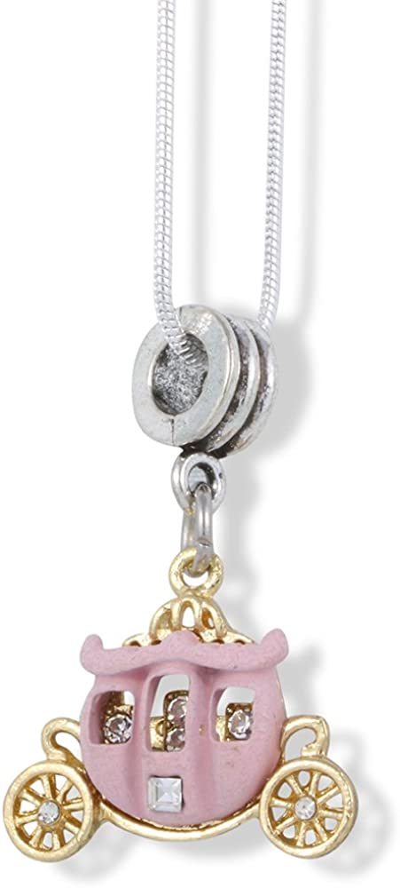 Carriage Cinderella Pink with Gold Wheels Charm Snake Chain Necklace
