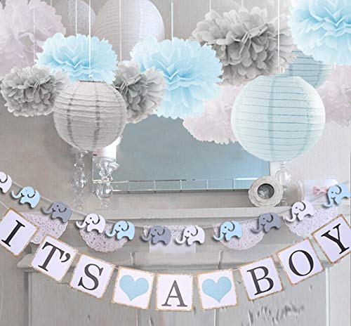 luckylibra Boy Baby Shower Decorations, It is a Boy Banners Elephant Garland and Paper Lantern Paper Flower Pom Poms (Blue White Grey) ()