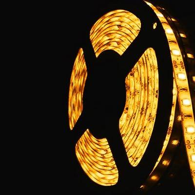 16.4ft (5m) AMBER Waterproof Flexible LED Strip Lights - 3528 SMD 300LEDs/pc LED Light Strip - Waterproof IP-65