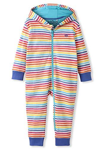 Organic Cotton Baby Snuggle Suit Girl Boy - Rainbow Stripes (18-24M)