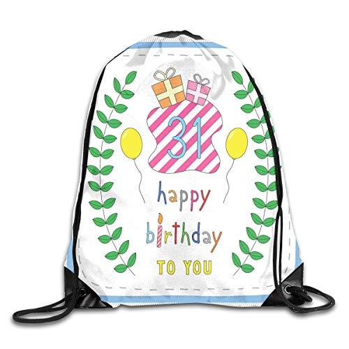 Drawstring Backpacks Bags,Natural Concept Celebratory Pastel Cartoon Like Leaves Presents,5 Liter Capacity,Adjustable
