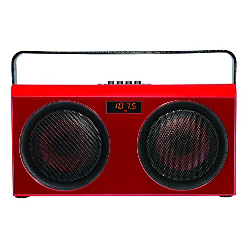Supersonic Retro Classic Red Boombox Wireless Party Bluetooth Portable Speaker Rechargeable Battery (20W Output Power) + FM/USB/SD/Karaoke inputs