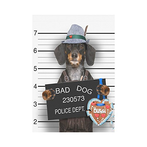 InterestPrint Dachshund Dog at Police Station Polyester Garden Flag Outdoor Banner 28 x 40 inch, Funny Decorative Large House Flags for Party Yard Home Decor