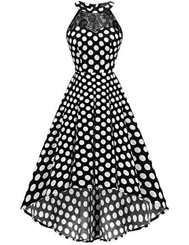 (DRESSTELLS Women's Vintage 50's Bridesmaid Halter Floral Lace Cocktail Prom Party Hi-Lo Dress Black White Dot M)