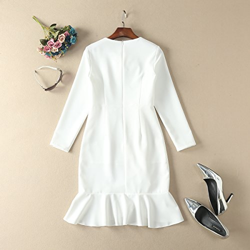 Cotylédons Women`s Robes Slim Fit Col Rond Manches Longues Robe Blanche