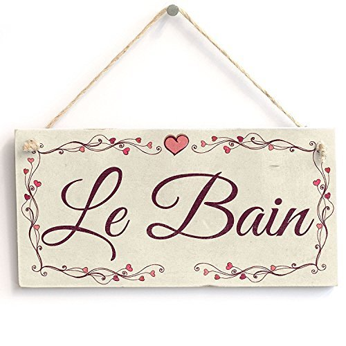 Wood Wall Plaque Le Bain Heart Design Wall Decor Sign Home Accessory Gift Sign ()