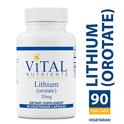 Vital Nutrients - Lithium (Orotate) 20 mg - Supports Mental and Behavioral Health - 90 Capsules Orotic Acid