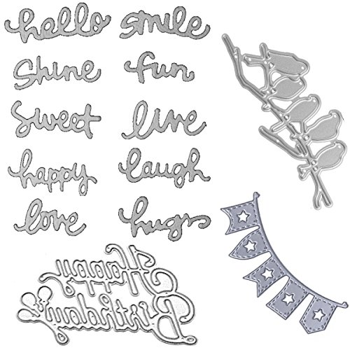 Dies Cut Metal for DIY Scrapbooking Photo Album Words Happy Birthday Birds Party Flag Words Love Hope Smile Hello Happy Love Decorative Embossing DIY Paper Cards Making (Set 10) (CDS12)
