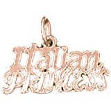 14K Rose Gold Italian Princess Pendant Necklace - 14 mm