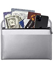Fireproof Money Bag - 10.6x6.7 Inch Fireproof Wallet Bag,Waterproof Storage Pouch,Small Fireproof Safe Bag for Cash Passport Currency and Keys - Grey
