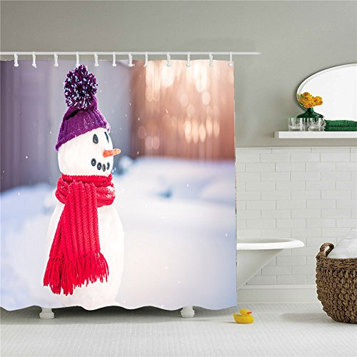 Woodland Colorful Christmas Snowman Decors Shower Curtain Size 69 by 84 - Woodlands Macys