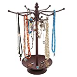 Vintage Style Brown Metal 12 Hook Jewelry Organizer Tree Rack Stand w/ Ring Dish Tray