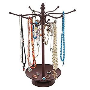 MyGift Vintage Style Metal 12 Hook Jewelry Organizer Tree Rack Stand w/Ring Dish Tray