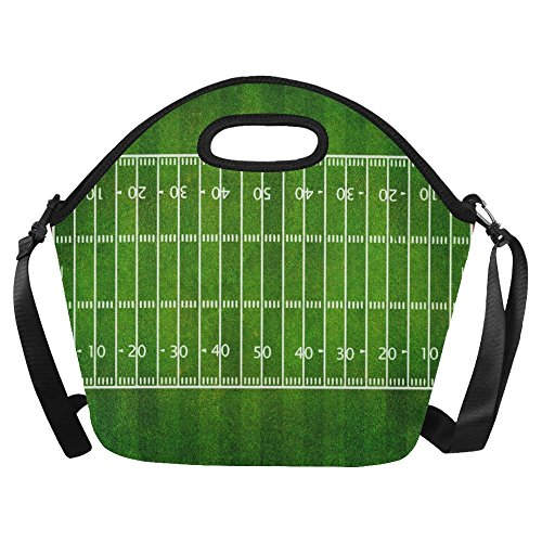 Gogogosky Football Field Top View Lunch Bag Lunch Tote Box with Detachable Adjustable Strap -