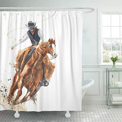 Emvency Shower Curtain Waterproof Adjustable Polyester Fabric Rodeo Cowboy Riding Horse Ride Calf Roping Watercolor Painting White Western 72 x 72 Inches Set with Hooks for Bathroom