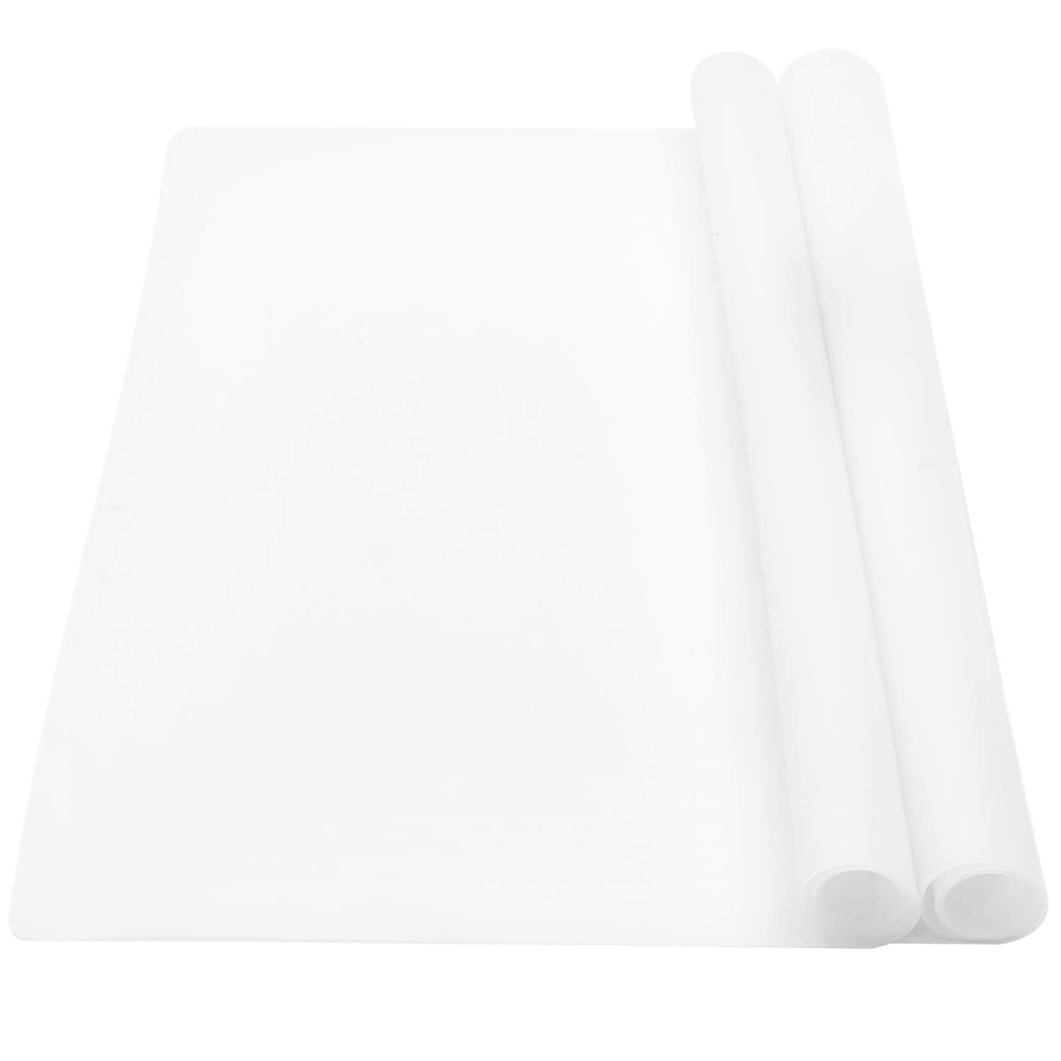 wellhouse 23.6'' by 15.7'' Extra Large Mulitpurpose Silicone Nonstick Pastry Mat Countertop Protector Heat Resistant Nonskid Table Mat Set of 2 (Translucent)