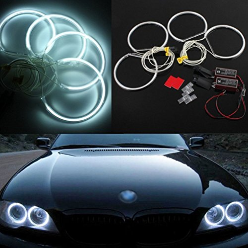 QiuKo Super Bright 4pcs 131.5mm CCFL Angel Eyes Halo Rings Kit 6000K 16W CCFL For BMW E36 E46 E39 E38 E34