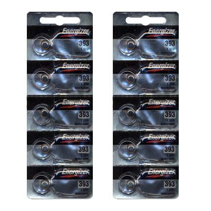 Silver Oxide Button Cell Batteries - Energizer 393 Silver Oxide 10 Batteries (SR754W)