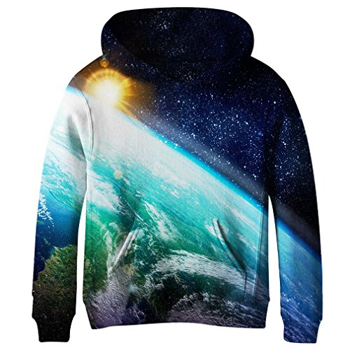 SAYM Teen Boys' Galaxy Fleece Sweatshirts Pocket Pullover Hoodies 4-16Y NO2 M
