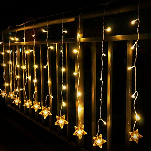 TOFU 100 LED Window Curtain Star String Light With Timer & Remote Indoor/Outdoor Waterproof for Wedding Party Home Garden Bedroom Wall (Light Wall Hanging)