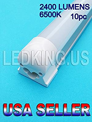 "LED Tube Light T8 10pc 4ft 48""6500k 20w MILKY Integrated Fluorescent on Sale."