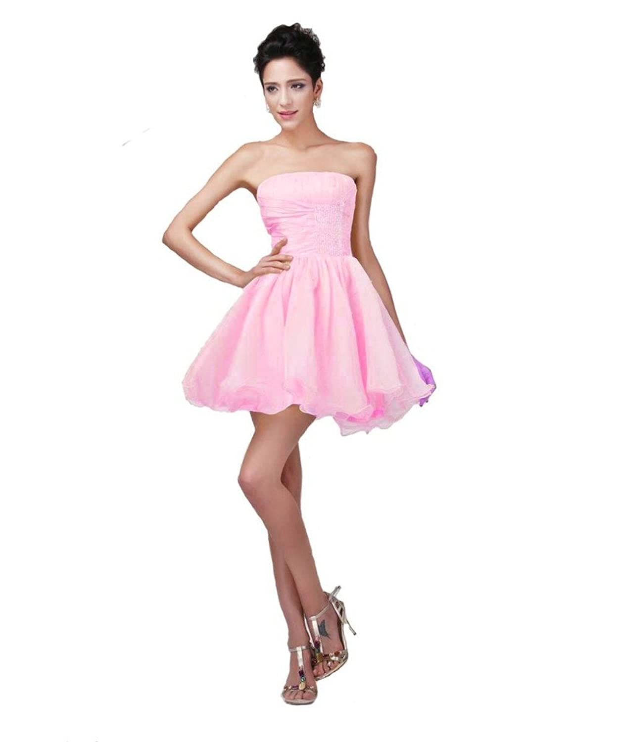 Kivary@ Short Organza Strapless Beading Prom Homecoming Graduation Cocktail Dresses