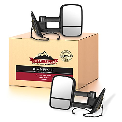 (Trail Ridge Tow Mirror Power Heated Textured Black Pair Set for Silverado Sierra)
