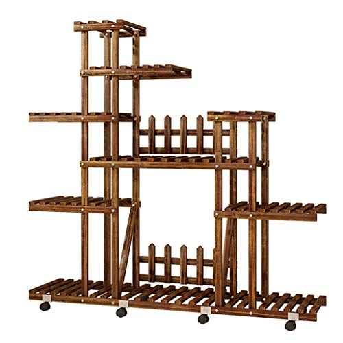 Wooden Plant Stand with Pot Shelf Stand Display Rack for Indoor Outdoor Garden Greenhouse, Storage Rack with Wheel 41.3″x9.8″x41.3″