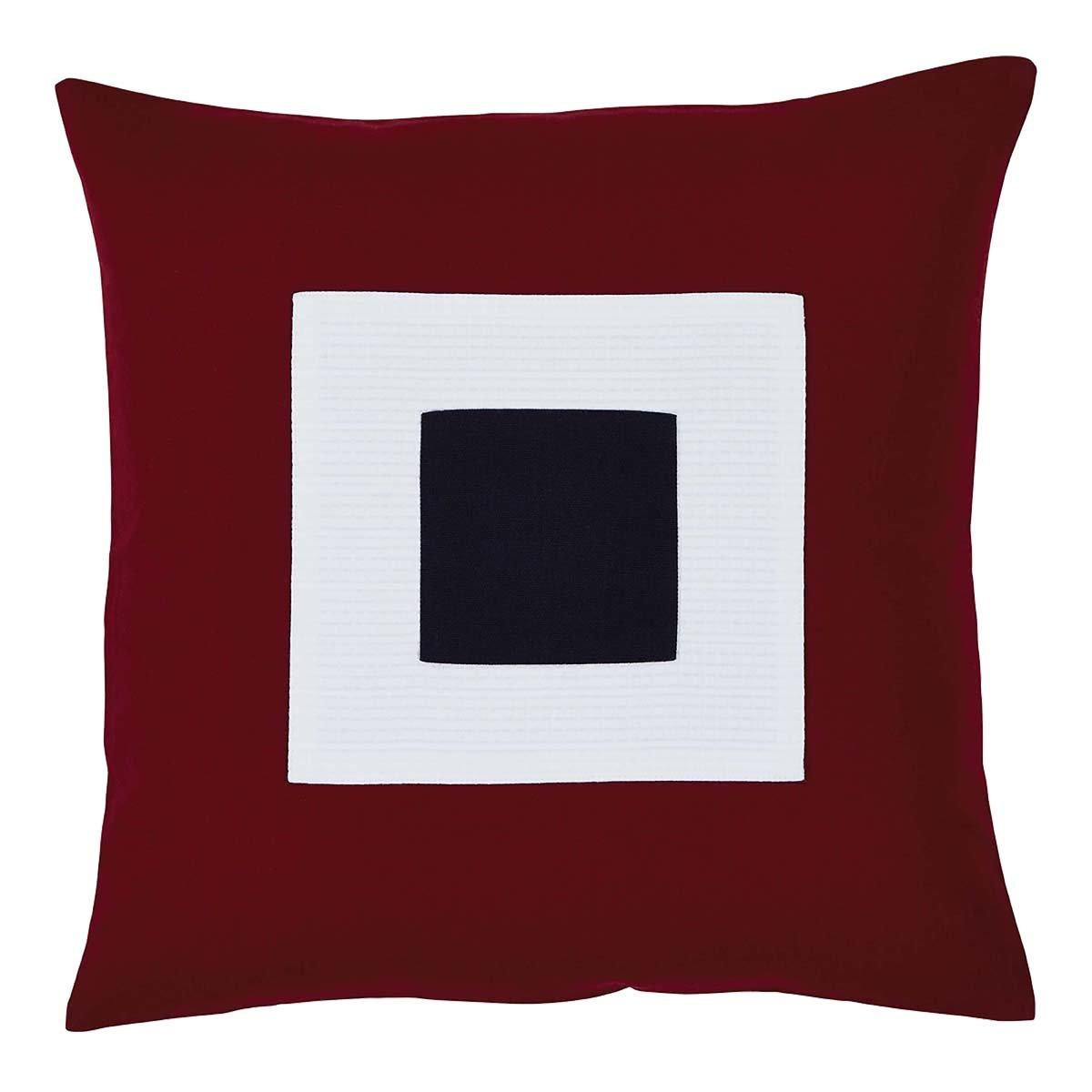 VHC Brands Americana Primitive Pillows & Throws - Patriotic Block Applique White 18' x 18' Pillow