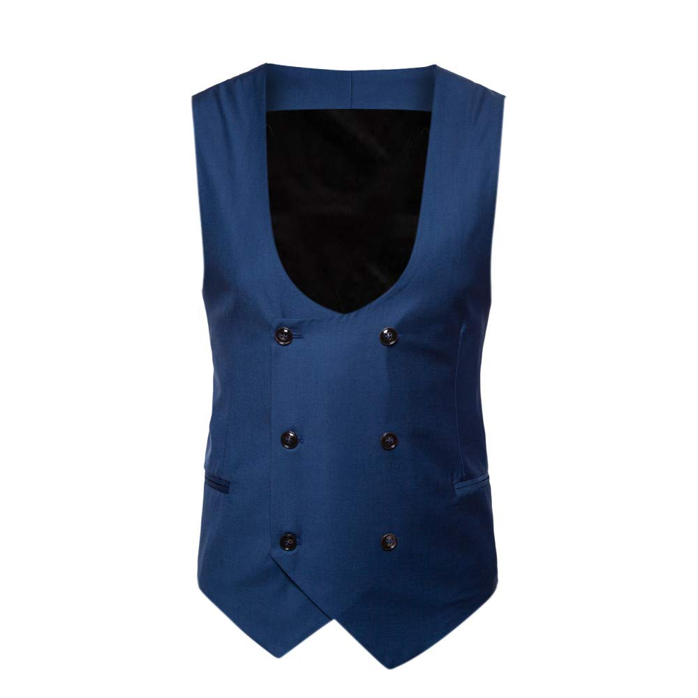 Men's T-Shirts Clearance WEUIE Men Button Casual Print Sleeveless Jacket Coat British Suit Vest Blouse (4XL, Blue)