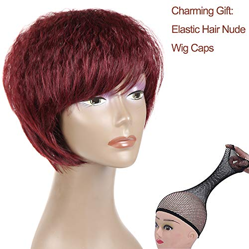 Feelgrace Short Wigs for Black Women Soft Curly Cute Wigs Burgundy Synthetic Pixie Wig (#Bug)]()