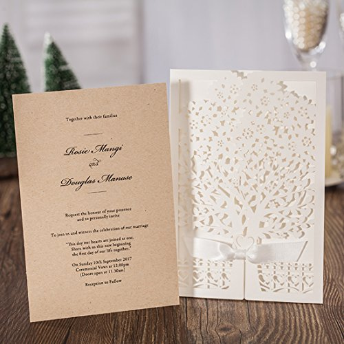 YUFENG 20pcs Hollow Love Tree Laser Cut Wedding Invitations Cards Kit for Autumn Marriage Engagement Birthday Bridal Shower -